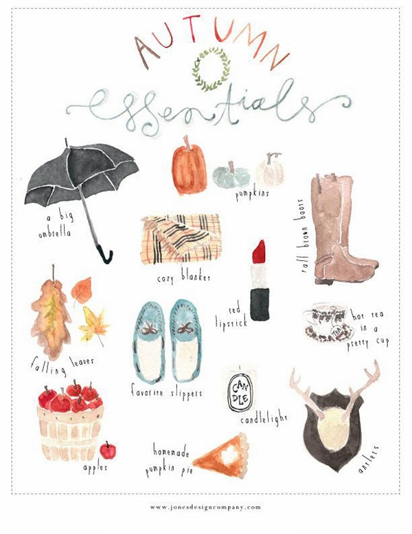 Autumn Essentials Free Printable from Jones Design Company via @hearthandmadeuk Hello October! Come on over and discover 25 things to do this October!! Make Crockpot Cider. This image is a fabulous example of all that is lovely about Fall/Autumn. I love that I live in a world where there are seasons! The red apples and cinnamon sticks are perfect scents for the season.