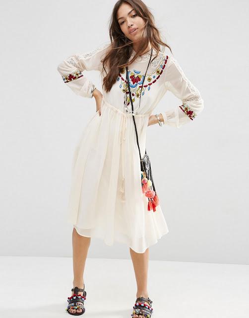 cream embroidered midi dress,