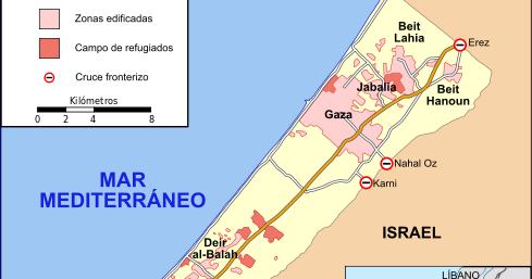 Franja De Gaza Mapa.Negro Sobre Blanco Franja De Gaza Una Semana Bajo Las
