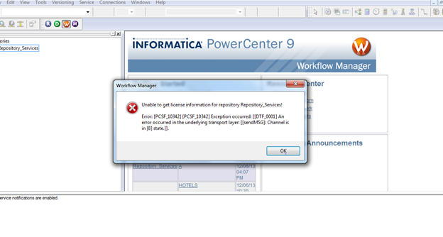 Unable to get license information for repository for Informatica 9 5 architecture