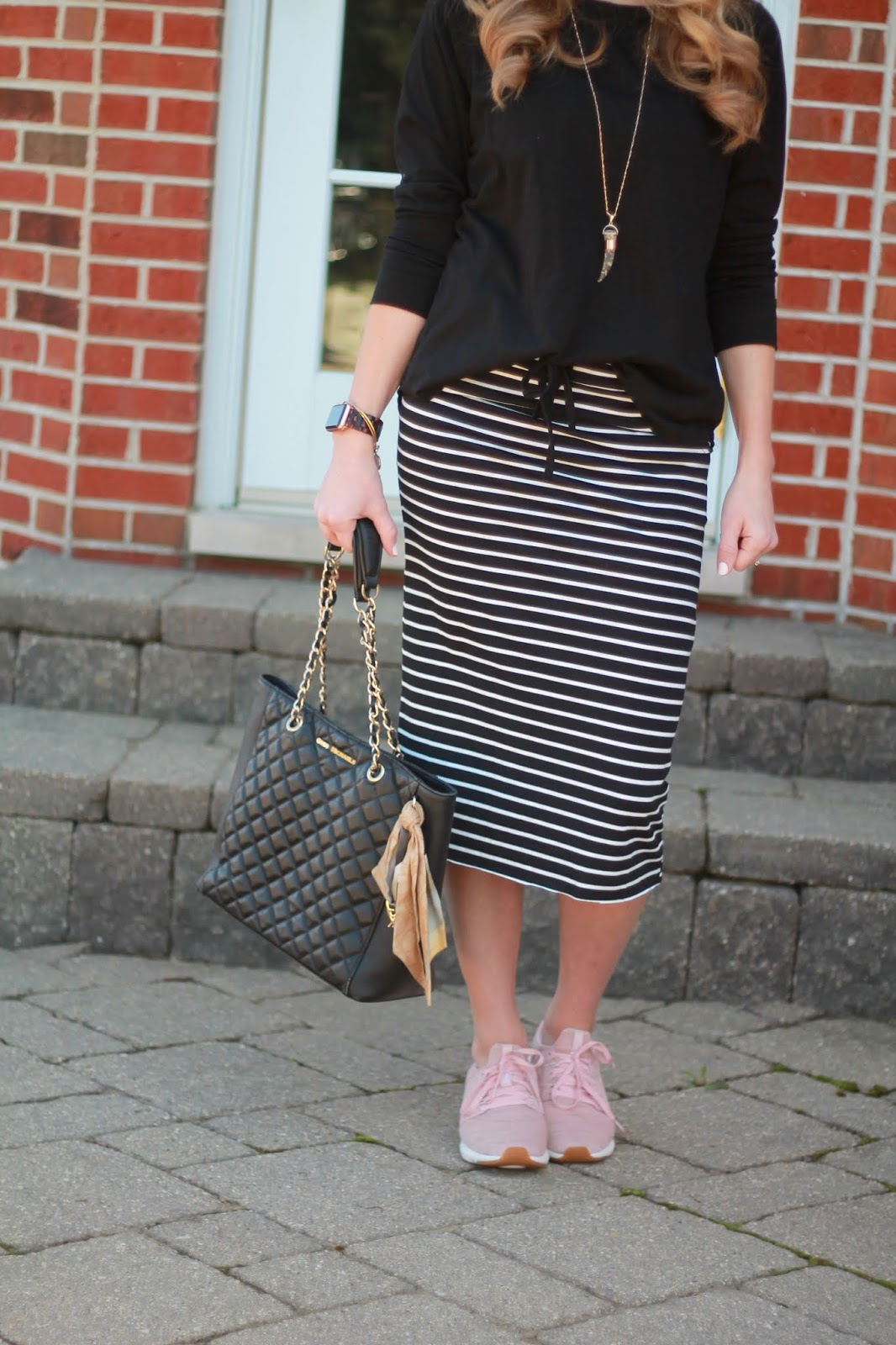 ABEO everett shoes, blush tennis shoes, joggers, striped dress, olive utility vest, striped midi skirt