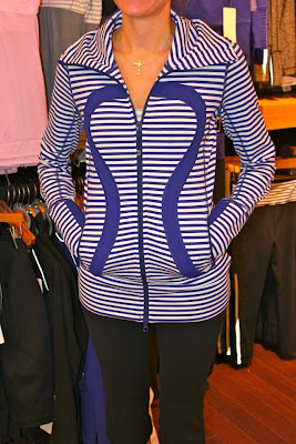 lululemon pigment blue striped stride jacket with silver stripe tank