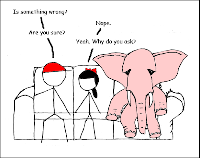 Funny elephant in the room cartoon joke picture