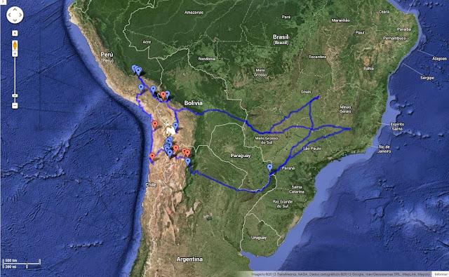 Trajeto planejado da Expedição América do Sul - set/2013.
