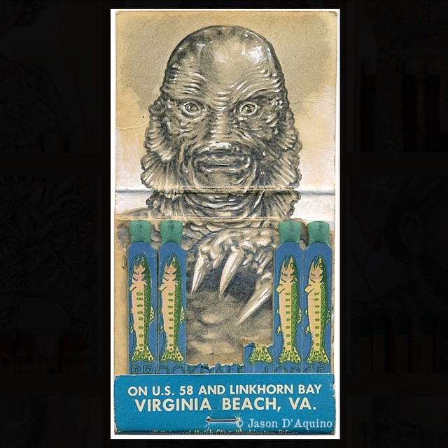 07-Creature-From-The-Black-Lagoon-Jason-D-Aquino-Miniature-Vintage-Match-Book-Drawings-www-designstack-co