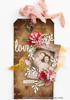 Layers of ink - Love Tag with Inksheets tutorial by Anna-Karin, with Tim Holtz Sizzix dies.