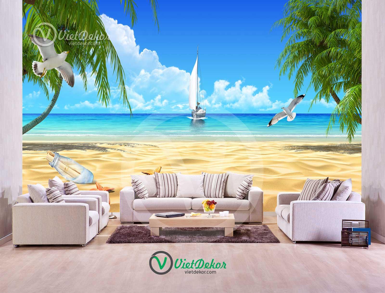 Tranh 3d phong cảnh biển thuận buồm xuôi gió