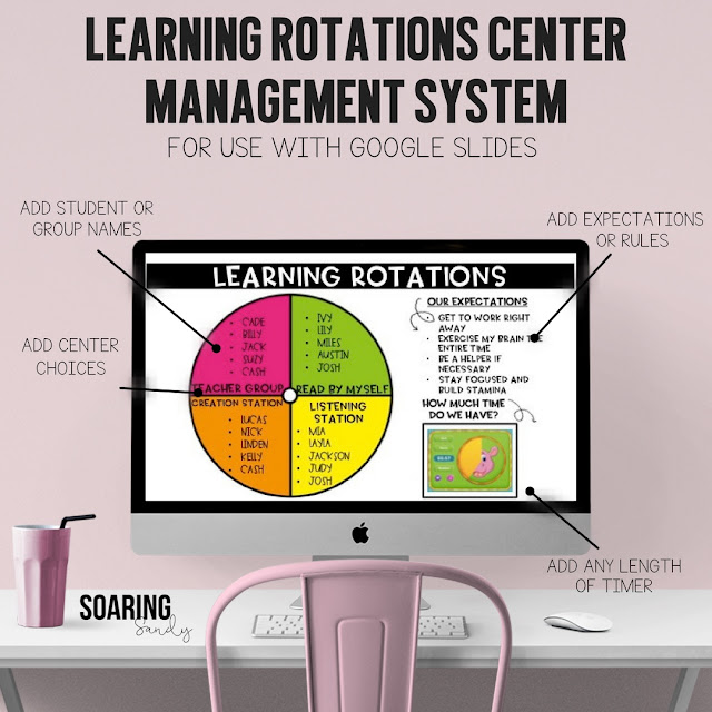 Manage centers and rotations for any part of your day easily with this template! Downloadable management systems for SMART Notebook, PowerPoint, and Google Slides.
