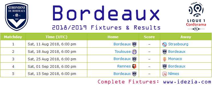 Download Full Fixtures PNG JPG Bordeaux 2018-2019