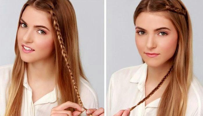 Trenzas delgadas para peinados f ciles y bonitos belleza - Como hacer trenzas sencillas ...