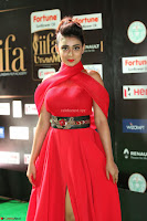 Apoorva in a Stunning Tight Leg Split Sleeveless Red Gown at IIFA Utsavam Awards 011.JPG