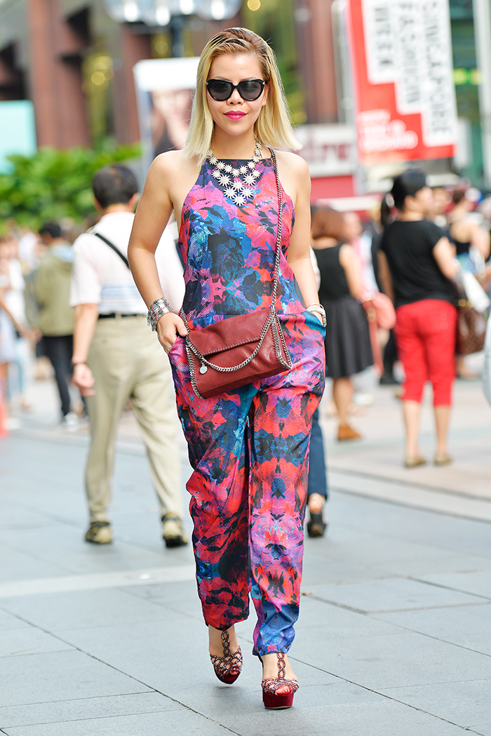 Crystal Phuong in Rich Jewel print Jumpsuit from Finder Keepers