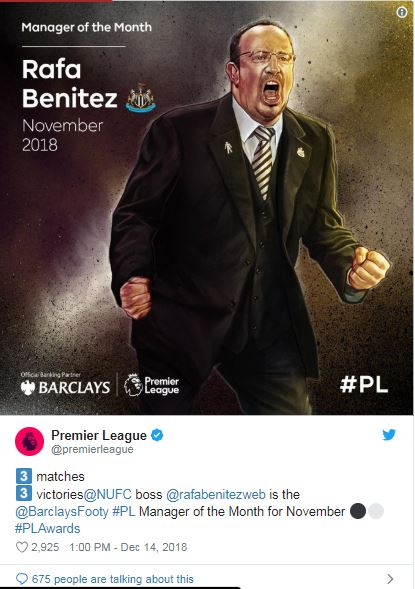 Rafa Benitez Manager of the month, november 2018