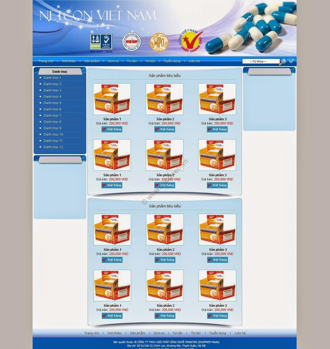 thiết kế web bán hàng dược phẩm giá rẻ