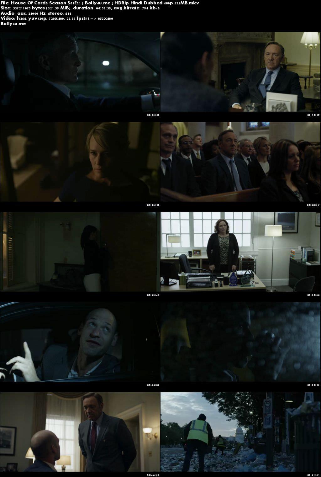 House Of Cards Season S01E01 HDRip 300MB Hindi Dubbed 480p Download