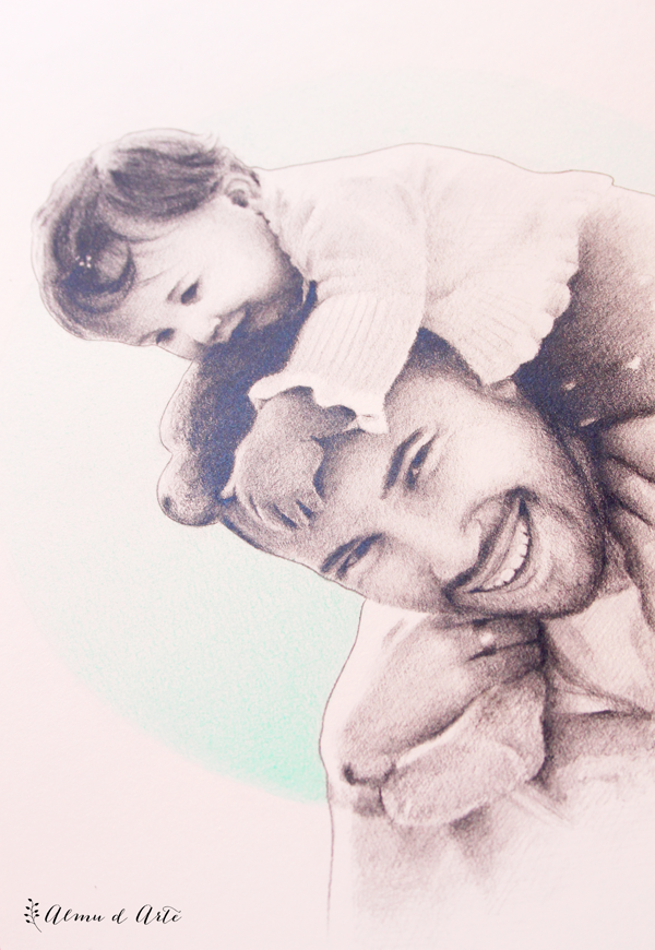 Retrato dibujado padre e hija