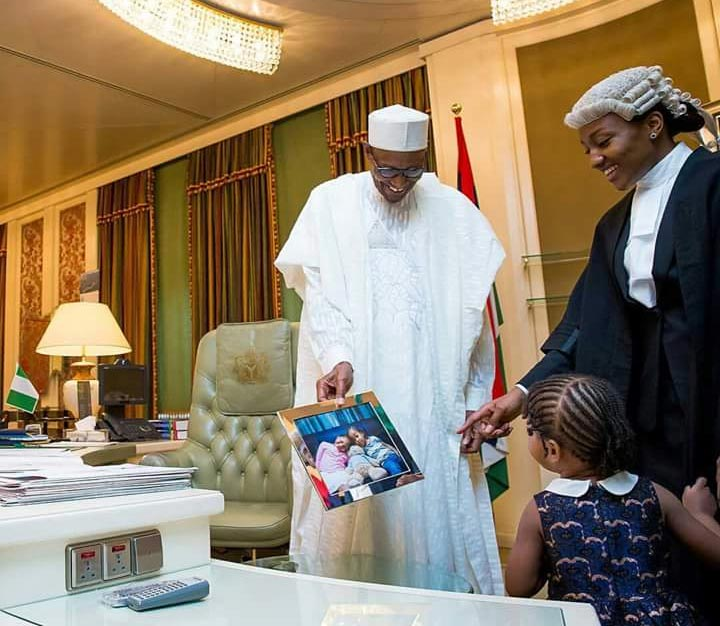 President Buhari's daughter Halima and her child visits him in Aso Rock