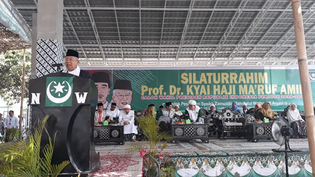 KH Maruf Amin Kunjungi Pontren Syaikh Zainuddin NW Anjani Lombok Timur