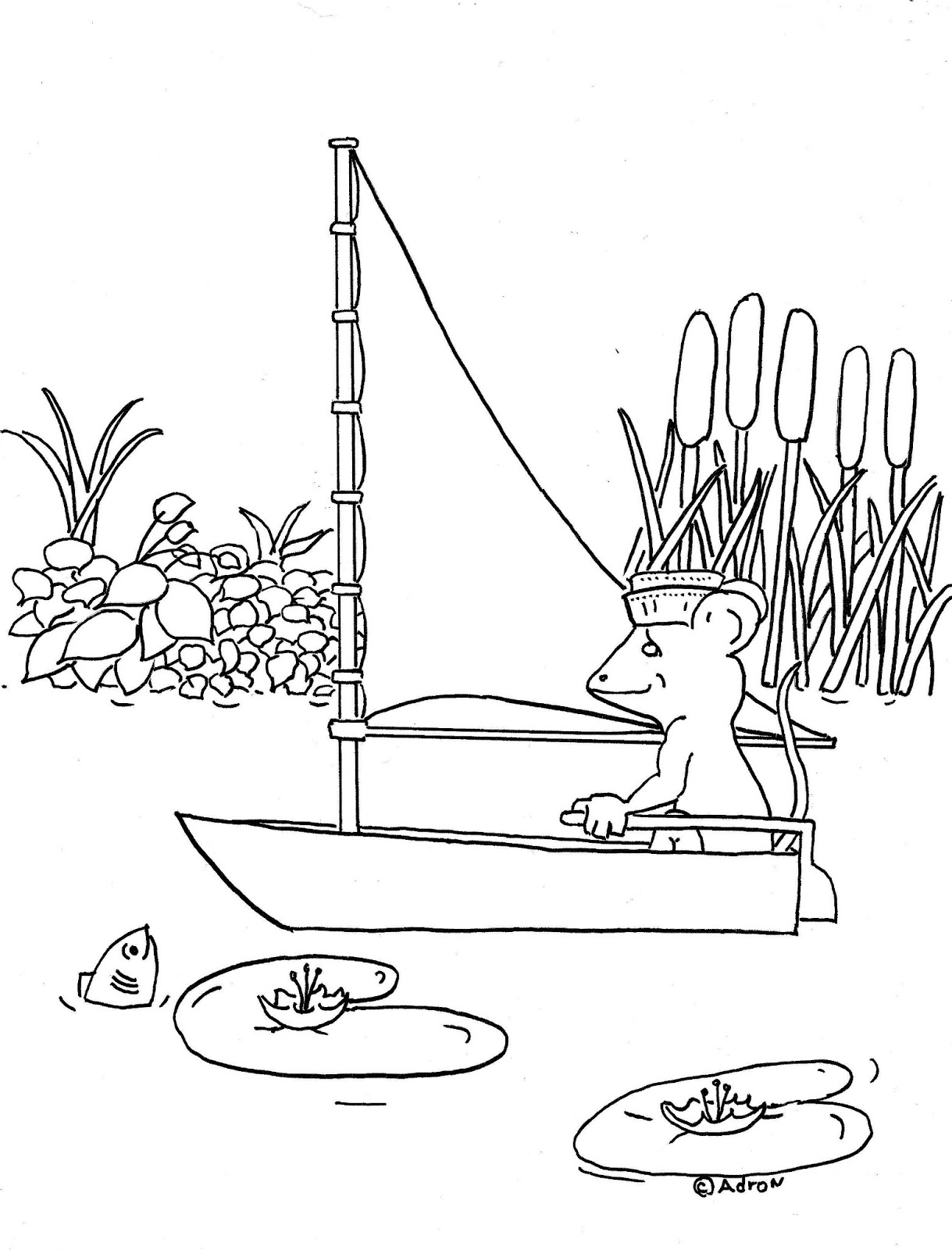 Coloring Pages For Kids By Mr Adron Mouse In Boat Kid S