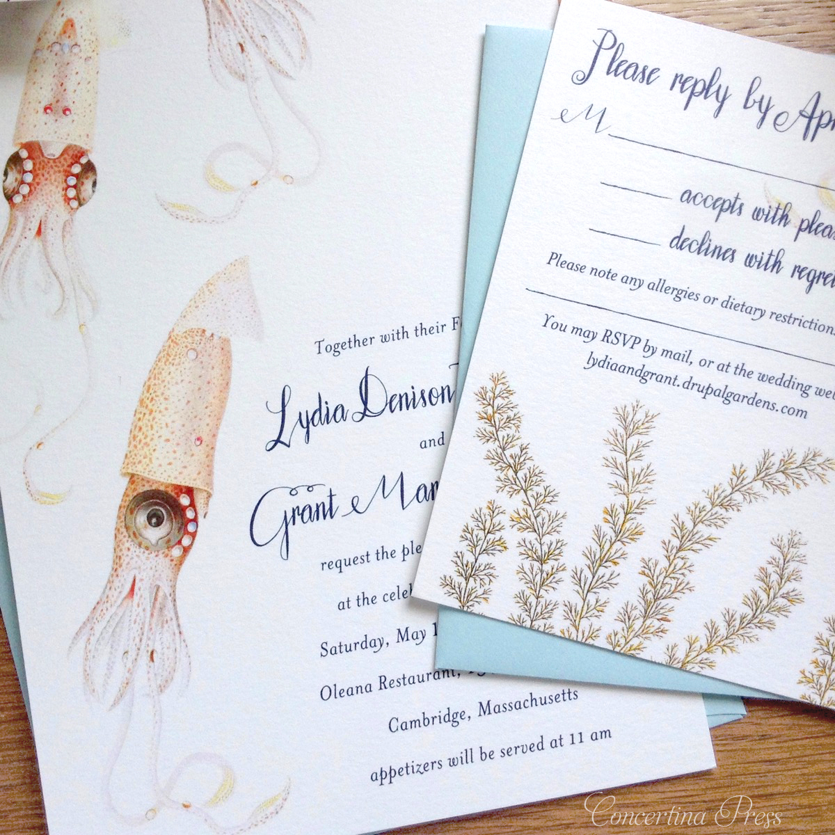 Beautiful Marine Life Wedding Invitations Featuring Pink Squid from Concertina Press