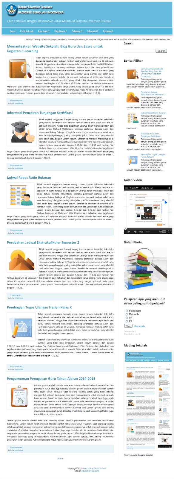 Template Blogsite Sekolah SMA Desktop