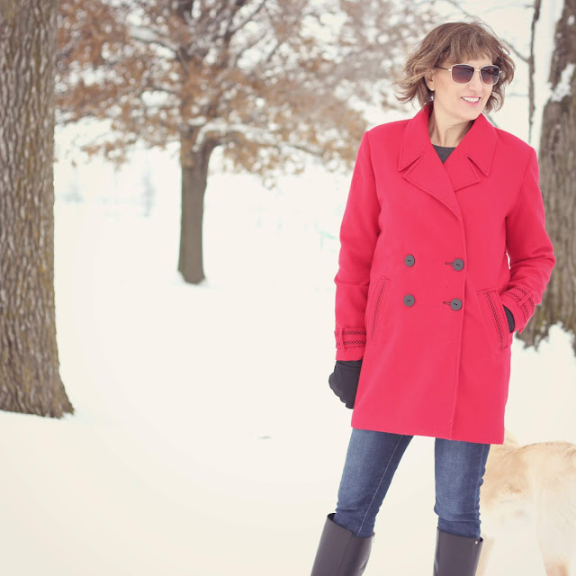 Simplicity 8451 red wool coat with decorative stitches created in the Embroidery Mode with the Pfaff Creative Icon