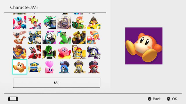 Nintendo Switch version 5.0.0 character profile pictures icons Kirby series Waddle Dee ARMS