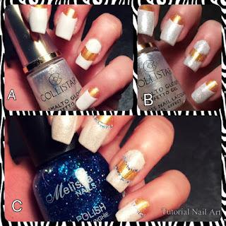 Tutorial di tre nail art per eventi: unghia oro con french lunga bianca realizzata con le tip guida