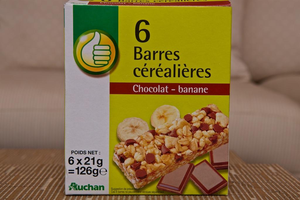 Barres céréalières Chocolat-banane (126g) par Auchan