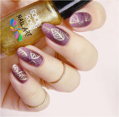 Golden Rose Nail Art