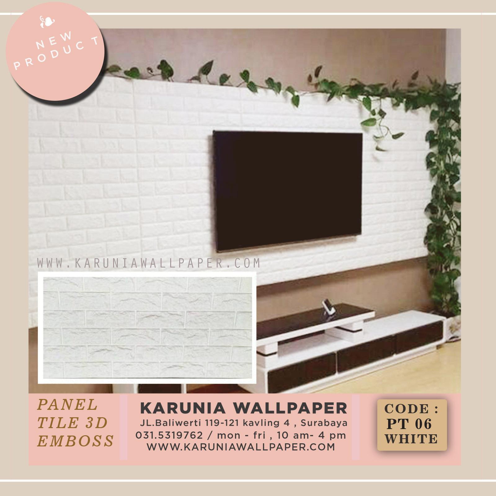 jual wallpaper panel batu bata putih 3 dimensi emboss surabaya