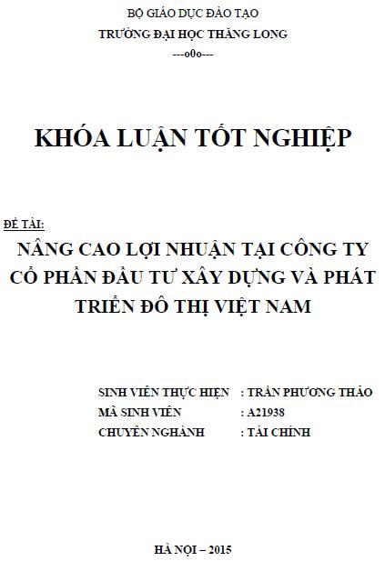 Nâng cao lợi nhuận tại Công ty Cổ phần Đầu tư xây dựng và Phát triển đô thị Việt Nam