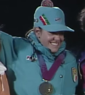 Deboragh Compagnoni on the podium after winning gold at Lillehammer in 1994