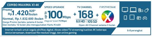 Paket Combo Maxima X1 4K HD - WIFI - First Media Promo Juli 2018 Global Offer