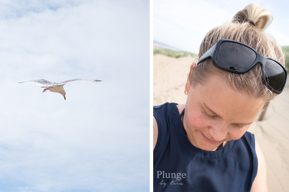 seagull and beach girl