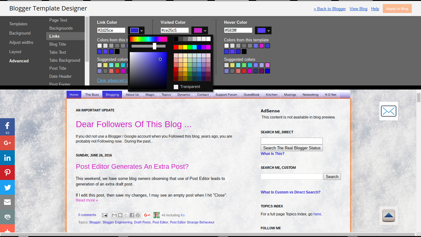 Blogger Magic Links And Colors