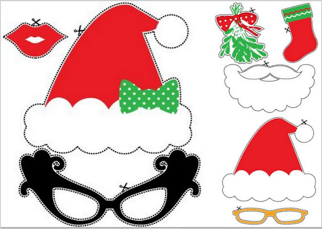 Christmas Photo Booth: Free Printable Funny Props.