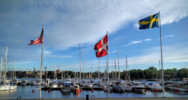 flags on the waterfront in Stockholm