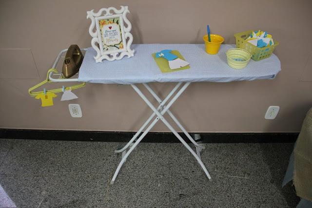chá bar, chá de panela, azul e amarelo, decoração, mesa de recados