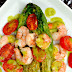 Grilled Romaine Hearts Tomatoes & Shrimp With A Basil Vinaigrette