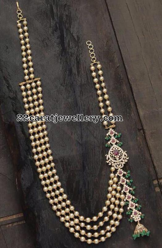 Pearls Set with Jhumka Side Motif