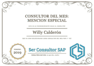 Certificado Consultoría SAP a Willy Calderon