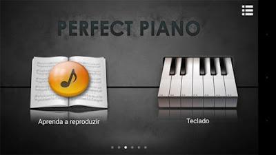 Menu inicial do Perfect Piano