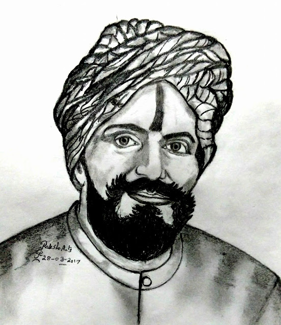 PENCIL DRAWING - Subramania Bharati