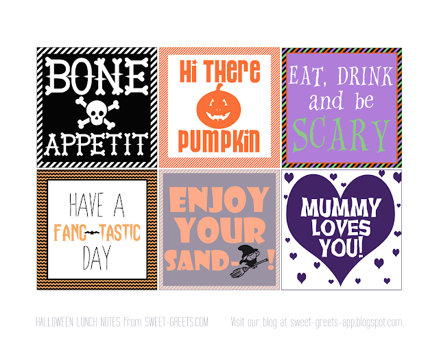 Free Halloween Lunch Box Notes