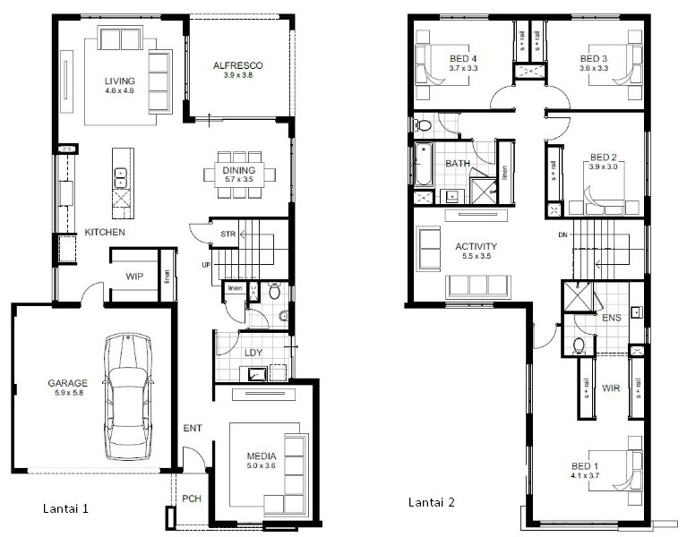 Contoh Denah Rumah Minimalis 2 Lantai Modern Terbaru 2019