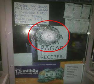Vidro blindado evita assalto à casa lotérica de Coronel Ezequiel