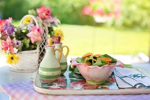 beautiful summer salad in the garden