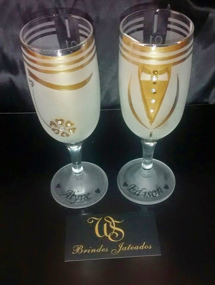 54a1c5647 WS Brindes Jateados  taça de champanhe para o brinde dos noivos com ...