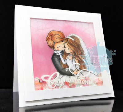 Tiddly Inks, Kecia Waters, wedding, shaker card, Copic markers